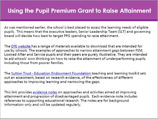Pupil Premium module preview