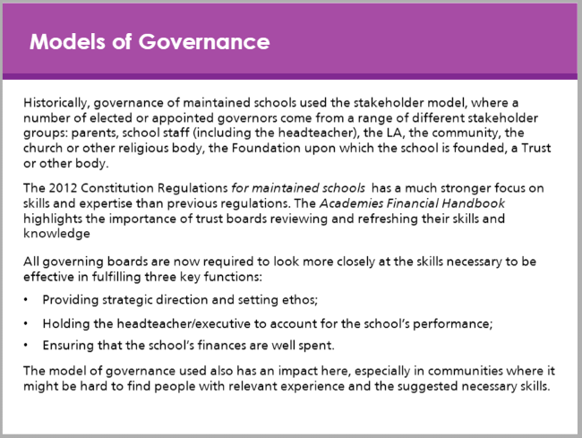 Different models of governance module preview